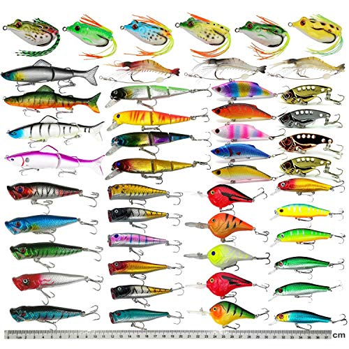 Hard Fishing Lure Set Assorted Bass Soft Fishing Lure Kit Colorful Minnow Popper Crank Rattlin VIB...