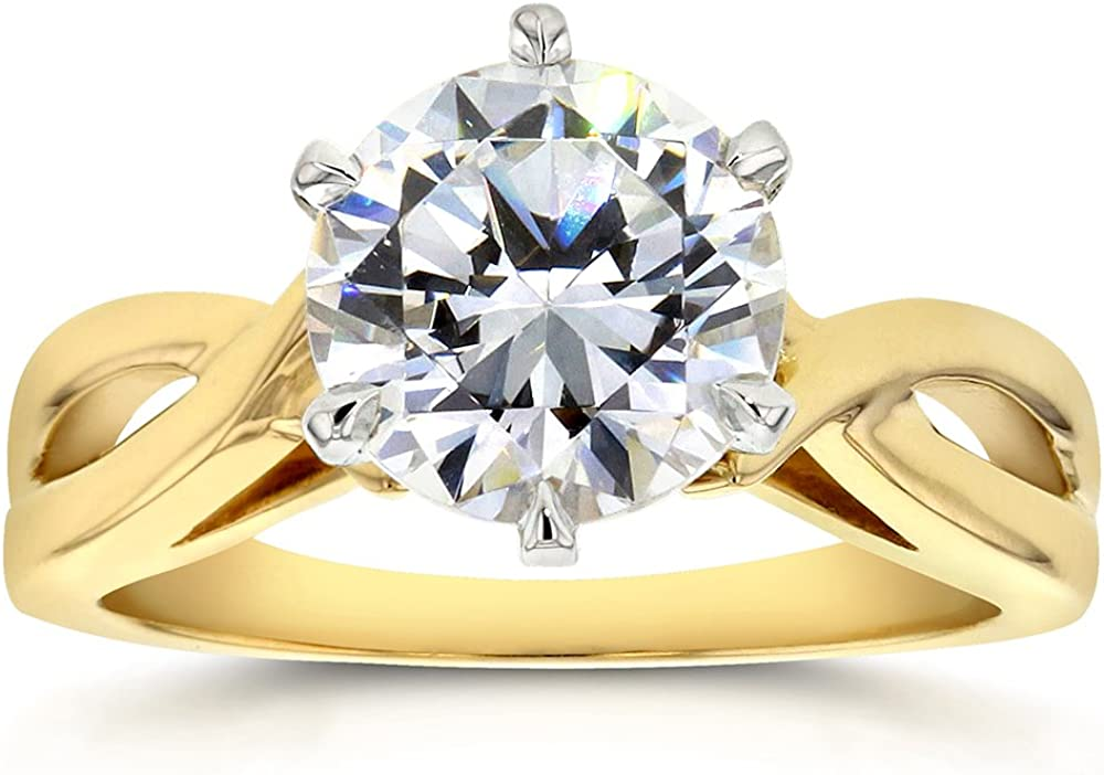 Kobelli Moissanite Round Solitaire Engagement Ring 1 9/10 Carat 14k Yellow Gold