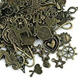 Naler 100 colgantes de bronce antiguo de estilo mixto para hacer joyas, pulseras, collares, pendientes, joyas para encontrar arte y decoración de manualidades accesorios
