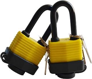 Laminated Waterproof Padlock Long Shackle Weather Resistant Outdoor Padlock with 2 Steel keys-2packs