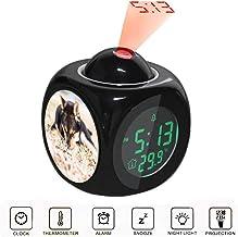JLHEB Projection Black Alarm Clock Digital LCD Display Voice Talking Table Clocks Temperature Snooze Function Desk Adult Black and Tan Shiba Inu Lying on Grass Field