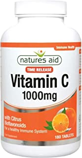 Natures Aid Vitamin C Time Release 1000 mg, with Citrus Biofavonoids for healthy Immune Support, 180 Tablets