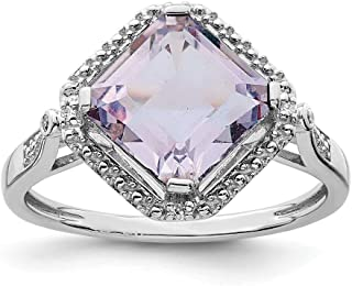 925 Sterling Silver Diamond Pink Quartz Square Band Ring Gemstone Fine Jewelry For Women Gift Set