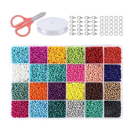 Halimer Cuentas de Semillas de Vidrio de 24 Colores Conjunto de Bricolaje Pulsera Collar Accesorios Material de Cuentas (Color : 4mm 6000pcs)