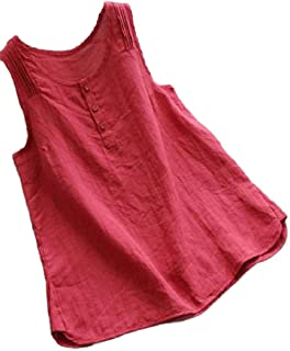 Jmwss QD Womens Casual Button Front Summer Solid Color Cotton Linen Tank Top T Shirt