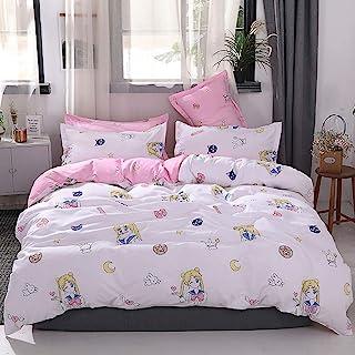 "Papa&Mima INS Nordic Duvet Cover Set - Microfiber Polyester Cotton - Hypoallergenic - 4 Pieces - Full - 78""x90""(200x230cm),Pink Sailor Moon Rabbit Girl Anime Cartoon"