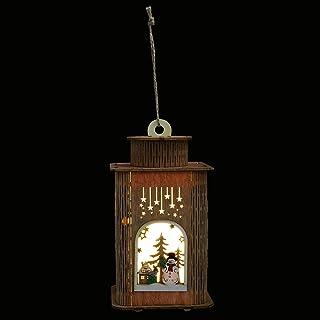 VICASKY Xmas Wooden House Lantern Wooden Christmas Snowman LED Lamps Flickering Holiday Tree Hanging Lights Seasonal Decor...