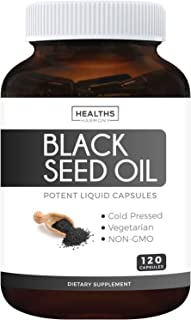 Best Black Seed Oil 120 Softgel Capsules (NON-GMO & Vegetarian) Made from Cold Pressed Nigella Sativa Producing Pure Black...