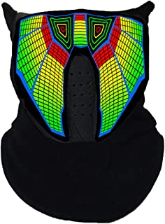 Music LED Light Up Rave Mask Sound Actived Flashing Luminous Party Mask for Dancing Riding Skating and Christamas