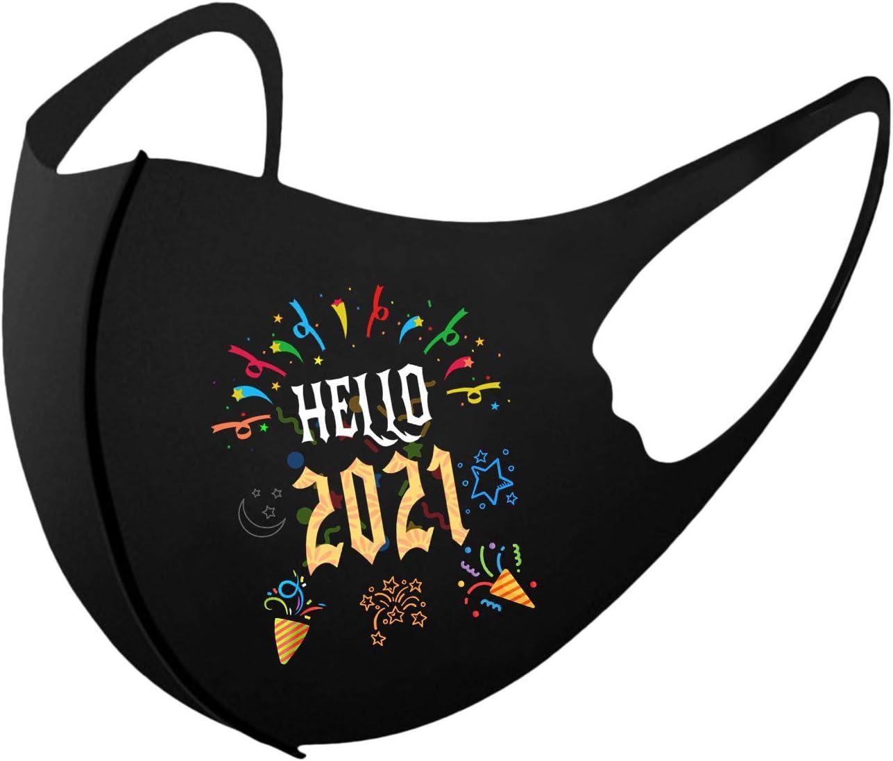 BEUU 1PCS Black Cloth Face Bandana for Kids,2021 Happy New Year Printed Face Balacava,Washable & Reusable,Bandanas for Outdoor Activities