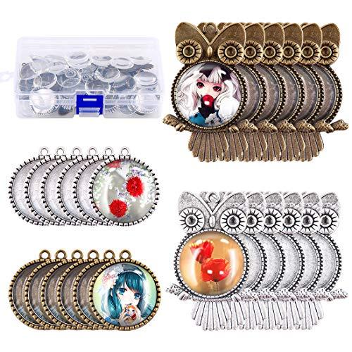 Glarks - 48 piezas de plata, diseño de búho y bisel de árbol, con colgante de cristal y cabujones, para pulsera, collar, manualidades, joyería