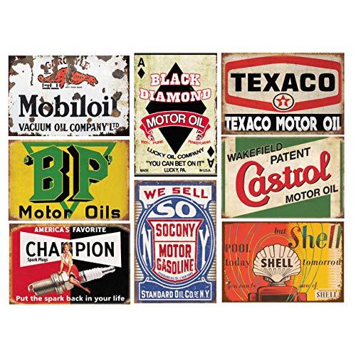 1st Warehouse Letrero de Lata de Gasolina con diseño Retro Vintage de 8 Piezas de 1er almacén para el Garaje de la Cueva del Hombre del hogar, 20 x 30 cm