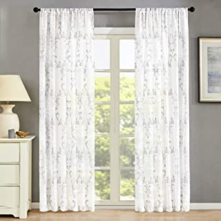Gray Floral Printed Sheer Curtains Polyester Cotton Blend Paisley Scroll Panels Medallion Flower Draperies Bedroom Living Room Damask Window Treatments,2 Panel, Rod Pocket, 54 x 63 inch Length