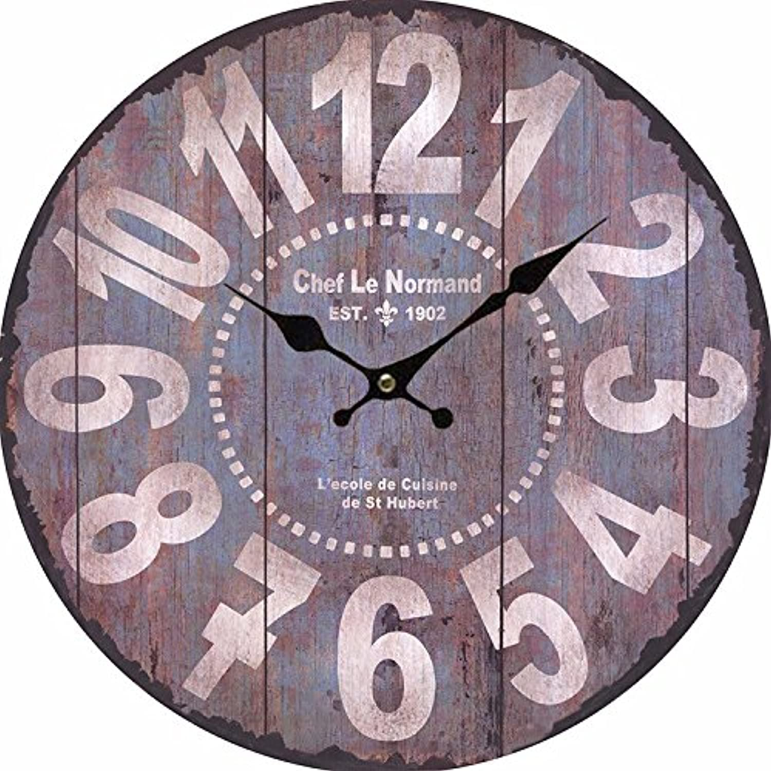 Stylish Modern MultiColoured Cute Retro Style Wall Clock Ideal for Any Room in Home 12 inch Wooden Round D