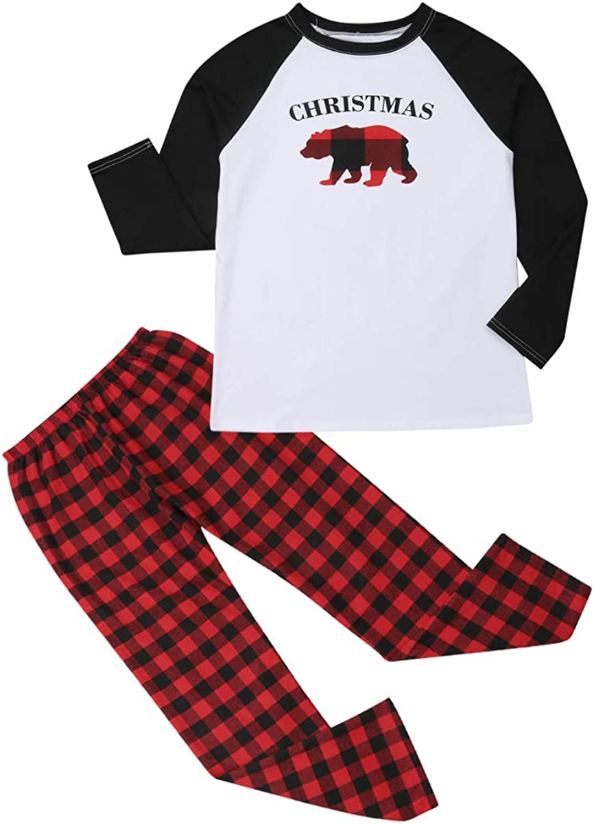 Christmas Family Pajamas Matching Sets, Classic Plaid Clothes Soft Outfit Sleepwear