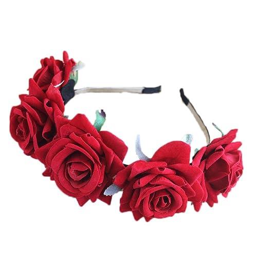 SZTARA Girl Bride Rose Flower Crown Wedding Festival Headband Hairband  Floral Garland Headpiece 5d7b4a516cf