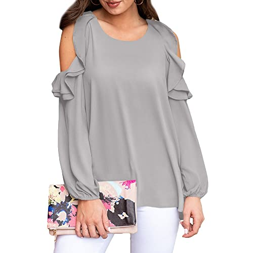 772a1cf540c6a For G and PL Womens Loose Casual Cold Shoulder Blouse Long Sleeve Ruffle  Shirts Grey XL