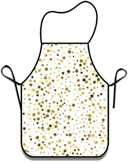 FEDDIY Chef Kitchen Gold Stars Unique and Baking Bib Aprons for Women and Men