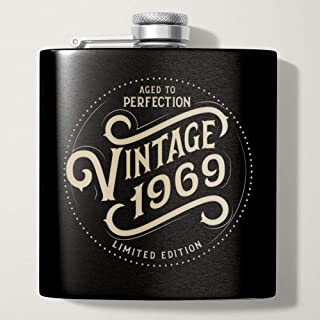1969 50th Birthday Gifts for Men | Black 6 oz Stainless Hip Flask | 50 Year Old Presents | Dad Husband Brother Uncle Grandpa Boyfriend Friend Present | Party Decorations Supplies Liquor Flasks Gift th