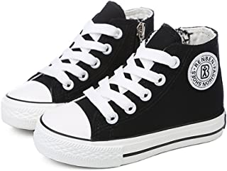 Meckior Boys Girls Classic Kids Casual Sneakers Comfort Zipper Lace Up High Top Canvas Shoes (Toddler/Little Kid/Big Kid)