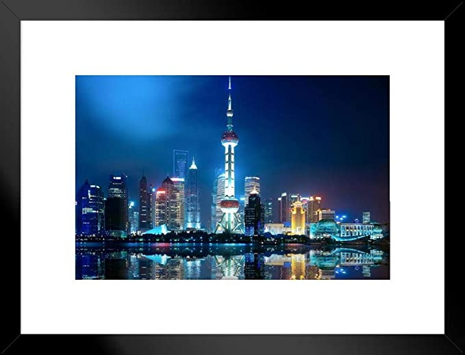 Amazon Com Pyramid America Shanghai China Skyline City View At Night Oriental Pearl Tower Color Photograph Art Cool Wall Decor Art Print Poster 36x24 Posters Prints