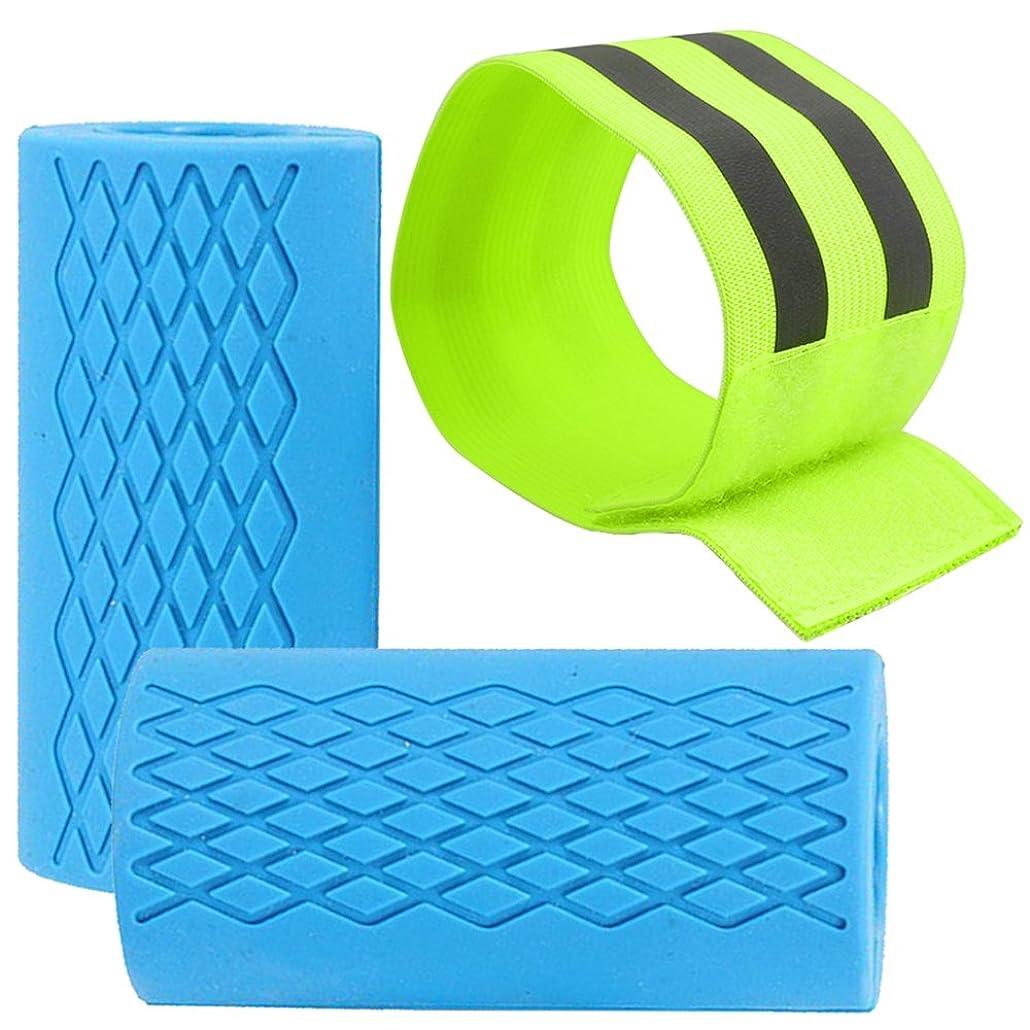 アラビア語石どんなときもリフレッシュアームバンド、FineGoodゴム厚手のバーベルダンベルグリップ、ウエイトリフティングトレーニングと筋肉成長のための2個のファットバーグリップ、前腕の上腕二頭筋を強化する胸胸 - 青