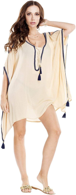 La Moda Clothing Kaftan   Beach Cover Ups   Bikini Cover Ups with Tassels   Womens Kaftans & Beach Cover Ups   by GOGA Swimwear Beige
