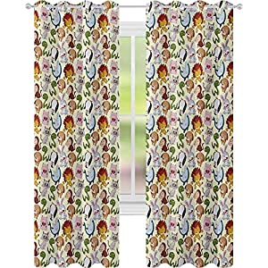 Crib Bedding And Baby Bedding Blackout Curtains, Various Funny Characters Cheerful Wildlife Comic Style Friendly Kids Design, Window Curtain Panel For Nursery Room, Multicolor