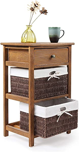 2 Wicker Rattan Drawers Bedroom Bedside Nightstand Wooden End Table Cabinet Storage