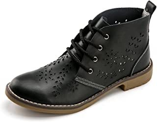 Vivident Hollow Genuine Leather Brogue Ankle Motorcycle Boots Lace up Women Fashion Classic Shoes