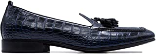 Luxury Fashion | Leqarant Men 3927BLUE Blue Leather Loafers | Season Permanent