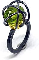 Exclusivo anillo en Plata y Oro de 18 K con precioso Peridoto de medidas 10,87 mm x 8,85 mm y 4.65 quilates. Anillo.
