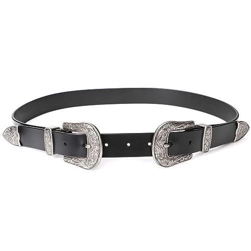 7f41c8ef040aa Women Leather Belts Ladies Vintage Western Design Black Waist Belt for  Pants Jeans Dresses