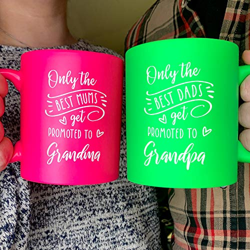 Set of 2 Ceramic Pink & Green Neon Mugs, Pregnancy Announcement Gift for...