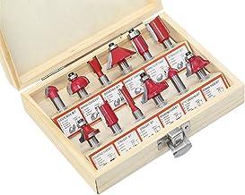 KKmoon Set de 12 Fresas para Madera, 8 mm, Color Rojo