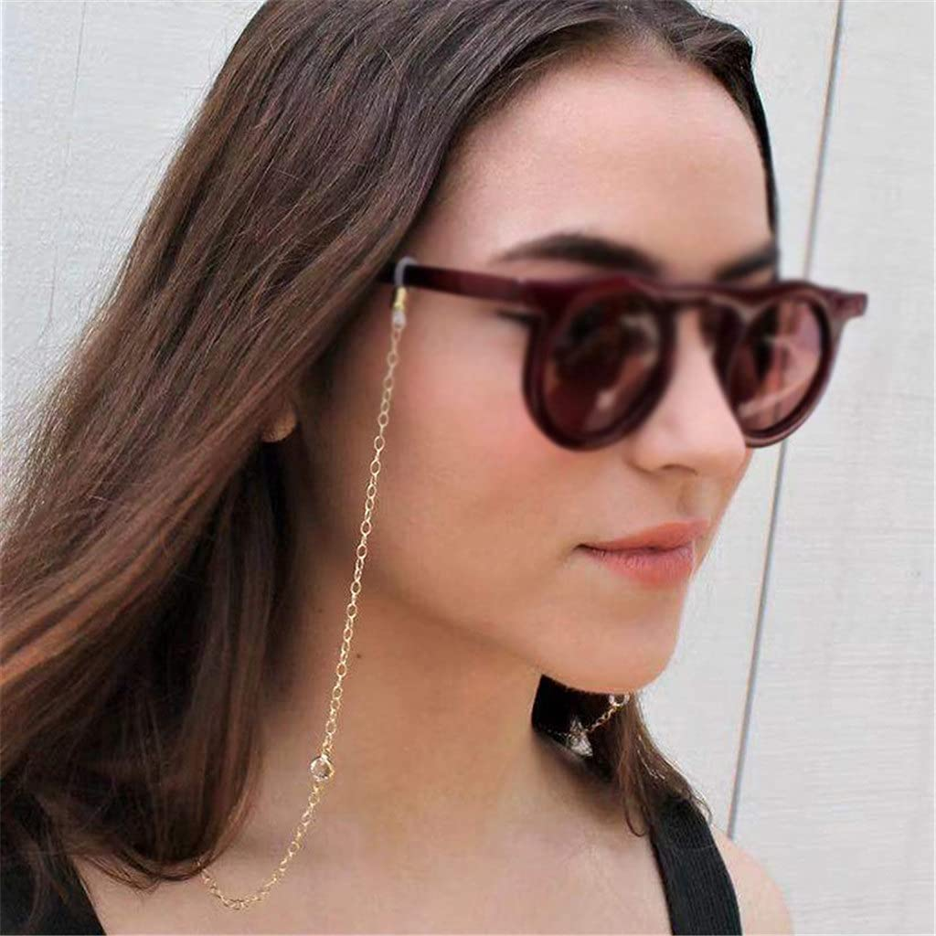 ZYKBB Glasses Chain for Women White Crystal Chain For Glasses Lanyard Sunglasses Strap Sunglasses Cords Trend Accessories (Color : A, Size : Length-70CM)