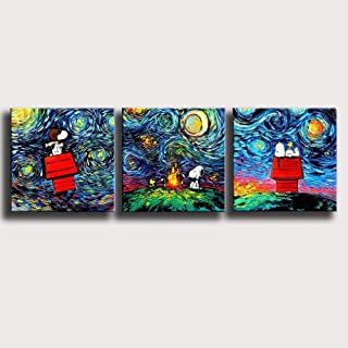 Artwcm snoopy van gogh 3PCS Oil Paintings Modern Canvas Prints Artwork Printed on Canvas Wall Art for Home Office Decorations-70 (Framed)