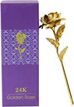 Fourwalls Artificial Coated Rose with a Box for Gifting (28 cm Tall, Gold)
