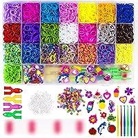 LoomBänderSetzumBasteln -- Über 7000+ hochwertige gummibänder in 22 verschiedenen Farben, 1 Webrahmen + 200 S-Clips + 50 Stk. Perlen + 15 Gummi-Anhänger + 2 Groß Häkelnadeln + 4 Klein Häkelnadeln + 2 Y Webrahmen Kreativitäts Gummiband-Set -- Dies...