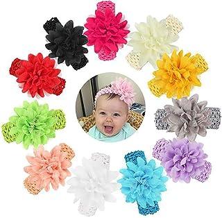 Delleu Bandeaux bébé Filles en Mousseline de Soie Fleur Accessoires Cheveux Bande de Dentelle Nouveau-né Chapeaux
