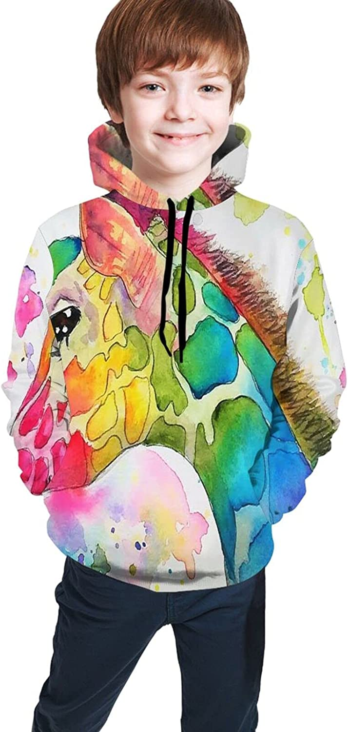 Kimisoy Hooded Sweater For Boys G Giraffe Ranking TOP16 Paint Max 64% OFF Warm Watercolour