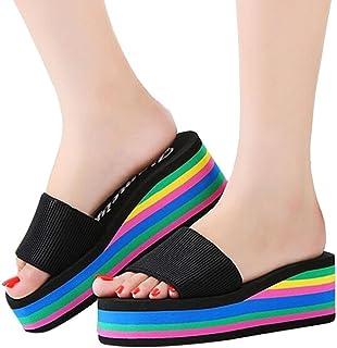 Clearance!Women Summer Flip Flops Sandals,Todaies Women Rainbow Summer Non-Slip Sandals Female Beach Slippers 3~5cm