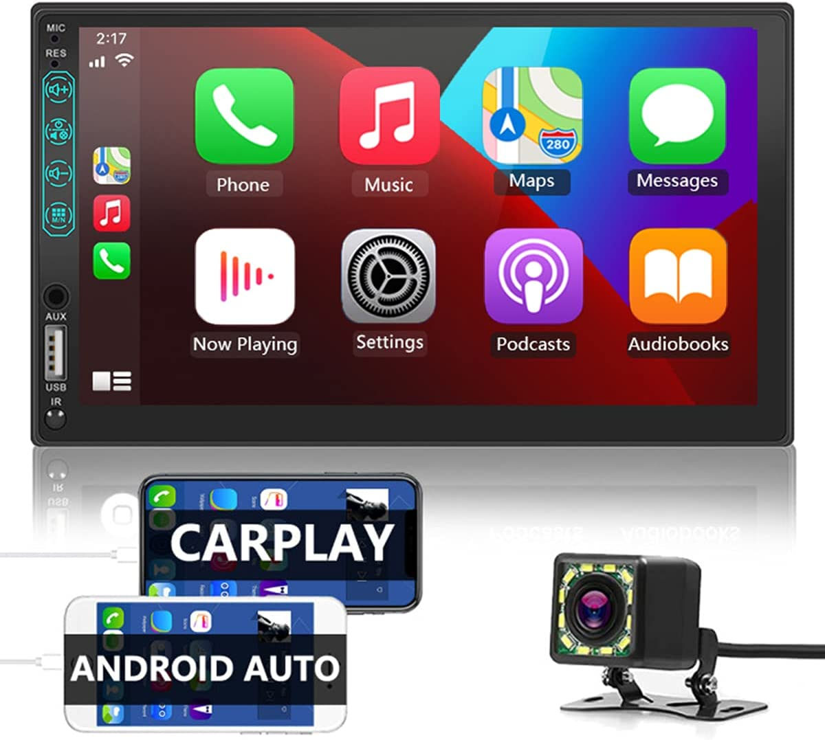 Double Din Carplay Compatible with Apple CarPlay and Android Auto,7 Inch Car Stereo with Mirror Link,Bluetooth,Steering Wheel Control,AM/FM Car Radio Receiver