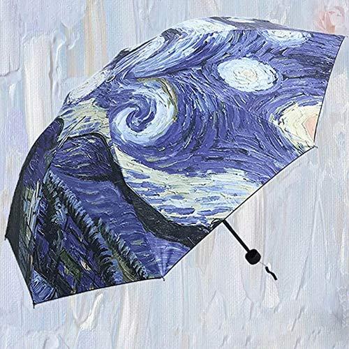Qojajoaq Paraguas Plegable Paraguas Lluvia Mujeres Pintura Sombrilla Hombre Tres Plegable Impermeable Novela Paraguas