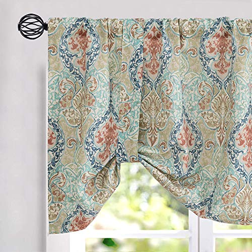 jinchan Tie Up Valance for Kitchen Living Room Linen Blend Damask Printed Adjustable Tie-up Window Curtain Drapes Rod Pocket 20 Inch Long 1 Panel Green
