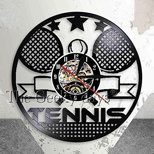 Reloj de Tiempo de Tenis Raqueta Cruzada de Tenis Colgante de Pared Reloj de Pared artístico Gimnasio Decoración de Pared Retro Rebanada Reloj de Pared de Vinilo Regalo de Tenis 30 × 30Cm