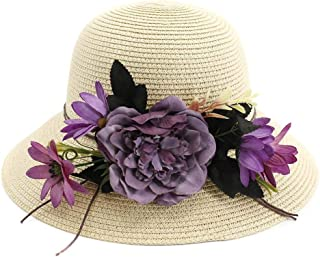 Songlin @ yuan Summer Handmade Crochet Flower Hat UV Protection Women Sun Hat Beach Hat Girl Sweet Holiday Jewelry Size:56-58CM (Color : Khaki, Size : 56-58CM)