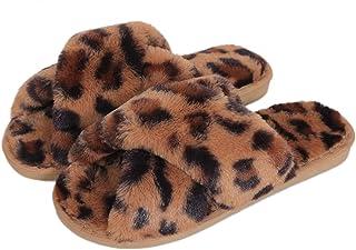 Fadezar Pantoufle Femme Chausson Peluche Chaud Slippers Claquette Fourrure Sandal Bout Ouvert Accueil Chaussures Léopard