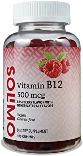 Amazon Brand - Solimo Vitamin B12 500 mcg - Normal Energy Production and Metabolism, Immune System Support - 100 Gummies (...