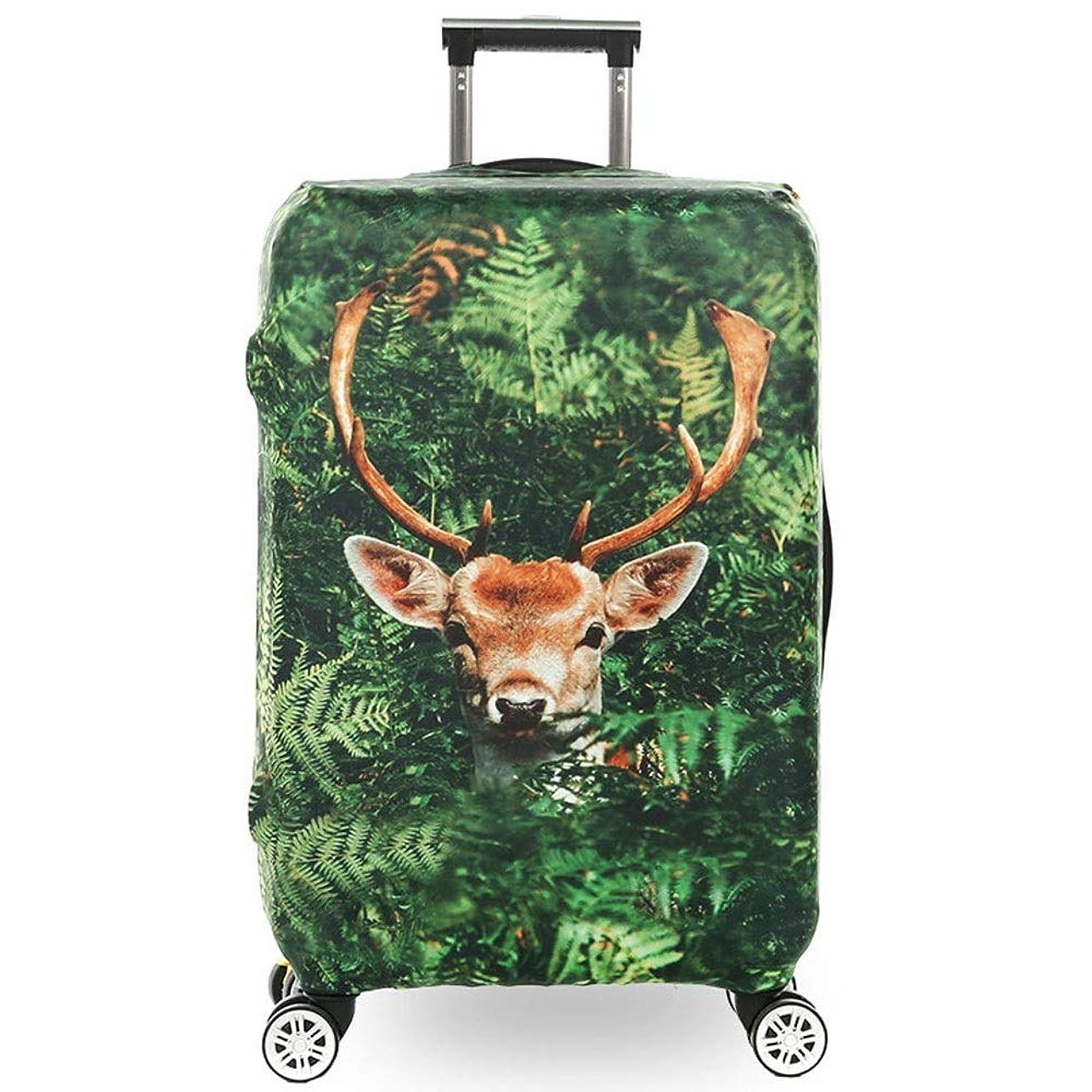 マトンあまりにも代わりに荷物カバー 3Dアニマルプリントエラスティックトラベルラゲッジカバー荷物を清潔に保つ18?32インチの荷物にフィット 機内持ち込み手荷物 (Color : Deer, Size : S(18''-21''))
